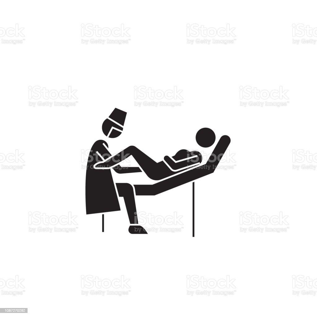 Gynecologist visit black vector concept icon. Gynecologist visit flat...