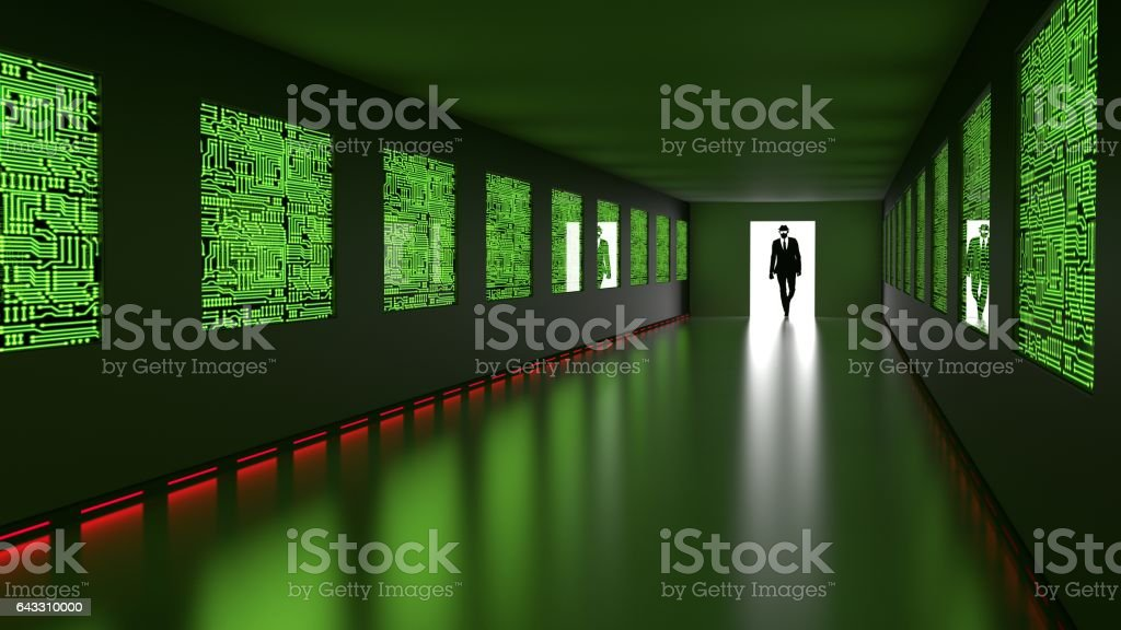 Hacker enters backdoor to server room with circuit screens vector art illustration