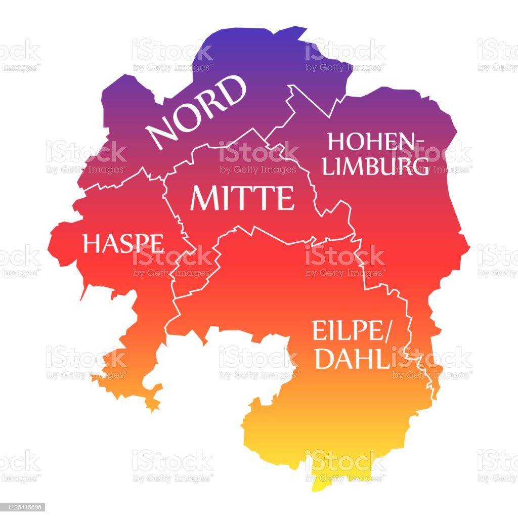 Carte Allemagne Hagen.Illustration De Couleur Arcenciel Marque Hagen Ville Carte