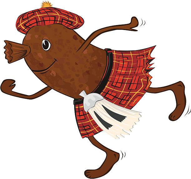 haggis in tartan kilt - haggis stock illustrations, clip art, cartoons, & icons