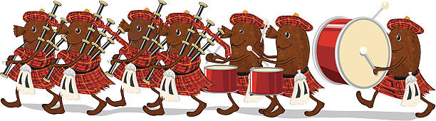 haggis marching bagpipe band - haggis stock illustrations, clip art, cartoons, & icons
