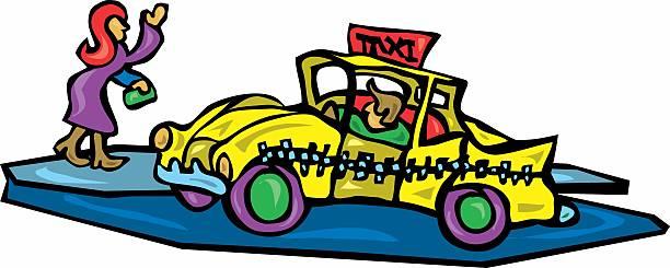 Hailing a Taxi vector art illustration
