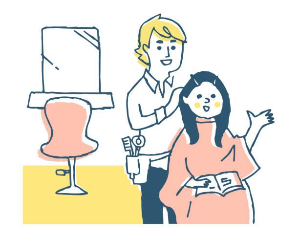 美容師と女性の顧客が会話をしている - 美容室点のイラスト素材/クリップアート素材/マンガ素材/アイコン素材