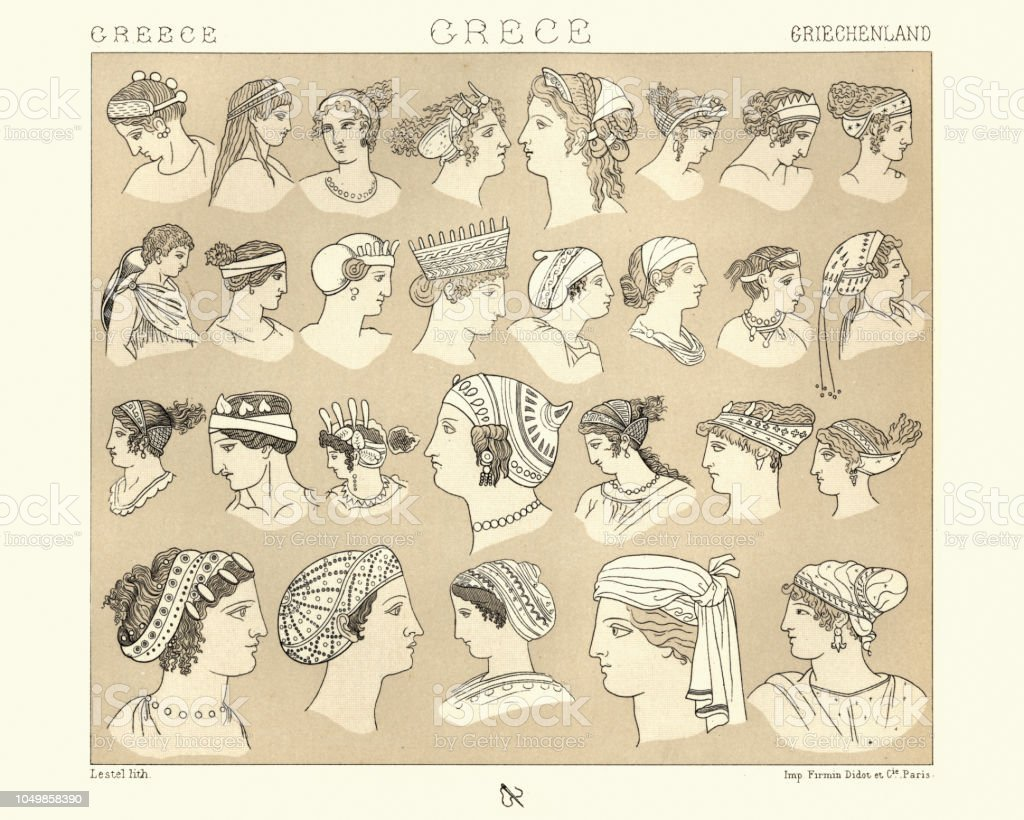 Hairstyles And Headwear Of Ancient Greece Stock Vector Art   More ... fd3fc3aa1b7