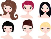 various hairstyles and hair colors for women.