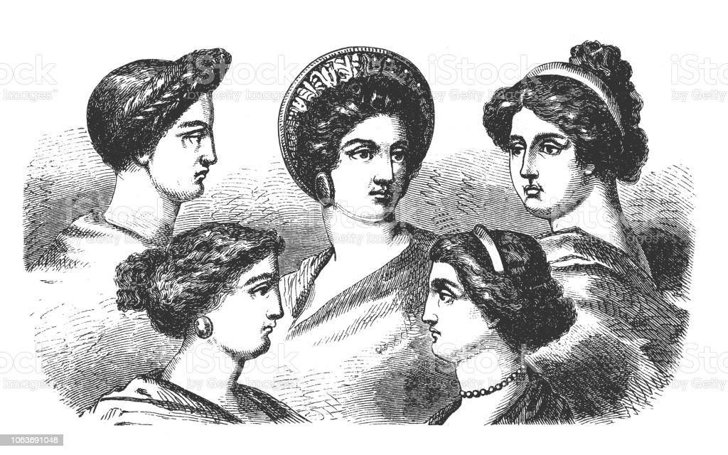 Frisuren Der Griechischen Frauen In Der Antike Stock Vektor Art Und