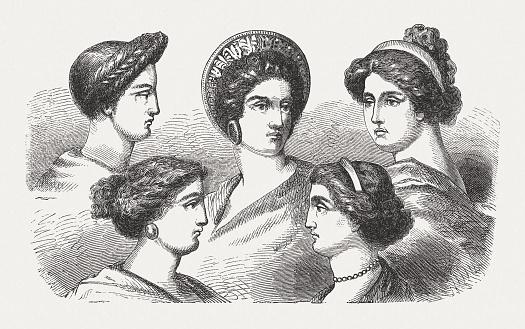 Frisuren Der Griechischen Frauen In Der Antike Holzstich