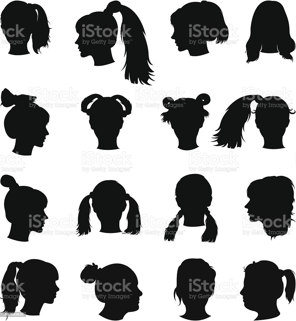 hairstyles silhouette stock vector art 167593635 | istock