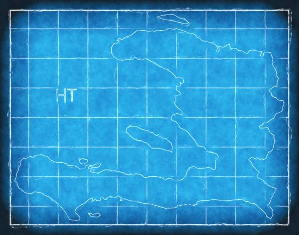 Haiti map blue print artwork illustration silhouette Haiti map blue print artwork illustration silhouette drawing of a haiti map stock illustrations
