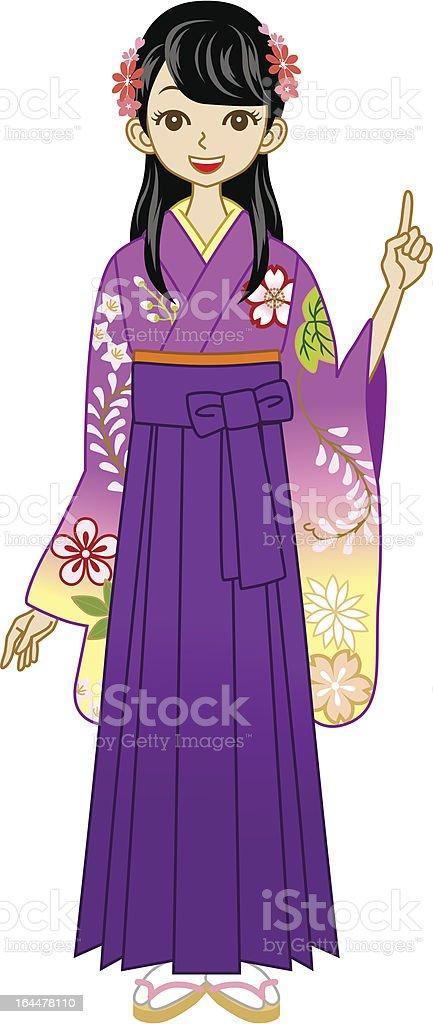 Hakama woman point vector art illustration