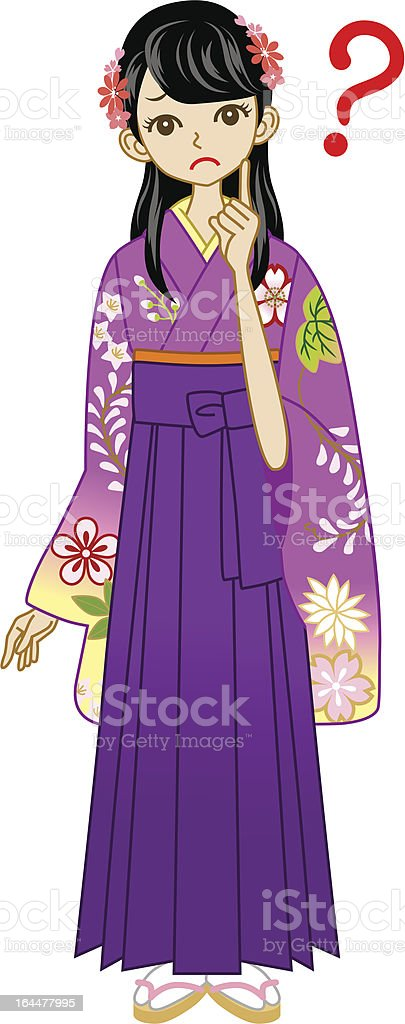 Hakama woman Question royalty-free stock vector art