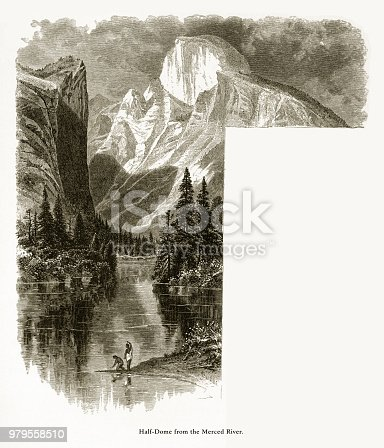 Very Rare, Beautifully Illustrated Antique Engraving of Half Dome from the Merced River, Yosemite National Park, Sierra Nevada, California, American Victorian Engraving, 1872. Source: Original edition from my own archives. Copyright has expired on this artwork. Digitally restored.