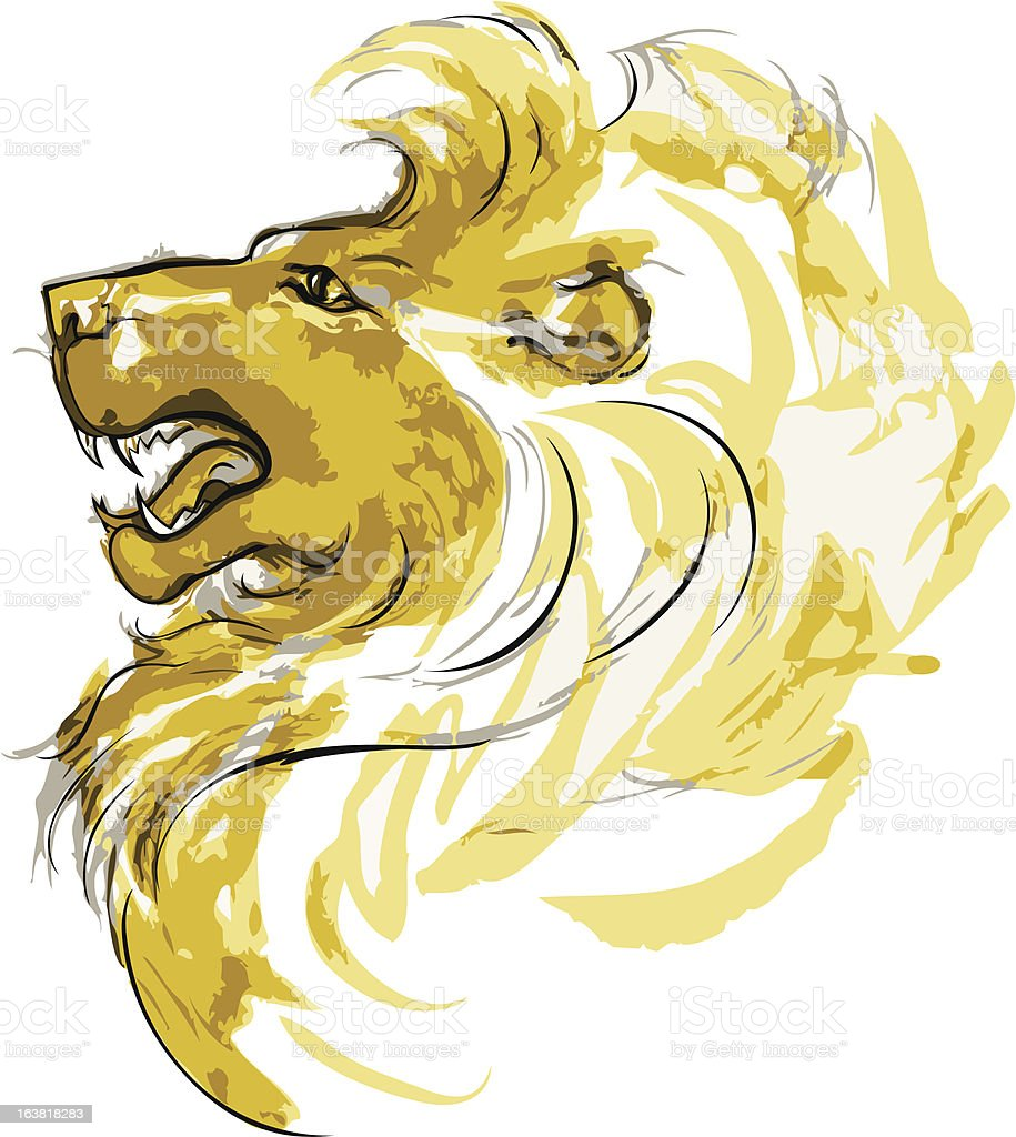 Half face muzzle lion - in the style of sketch royalty-free stock vector art