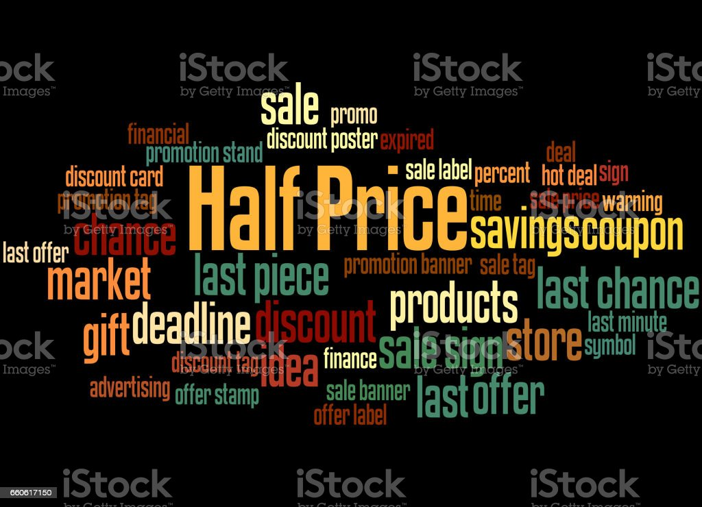 Half Price, word cloud concept 6 royalty-free half price word cloud concept 6 stock vector art & more images of business