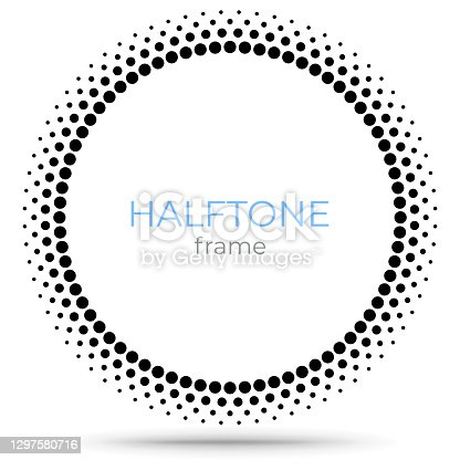 istock Halftone vector circle frame dots logo emblem, design element for digital devices, medical, treatment, cosmetic. Round border Icon using halftone circle dots raster texture. 1297580716