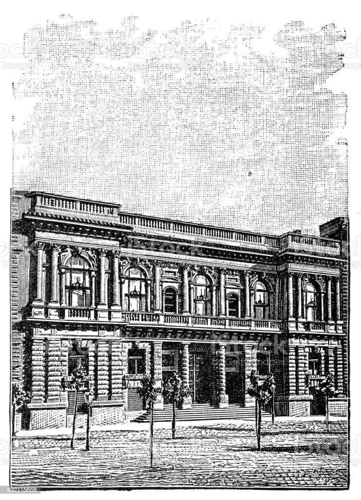Hall of Art, Budapest vector art illustration