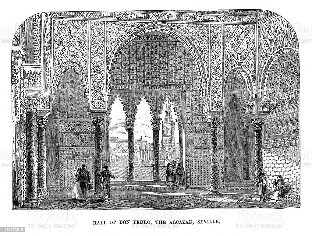 Hall of Don Pedro, Alcazar, Seville royalty-free hall of don pedro alcazar seville stock vector art & more images of 19th century