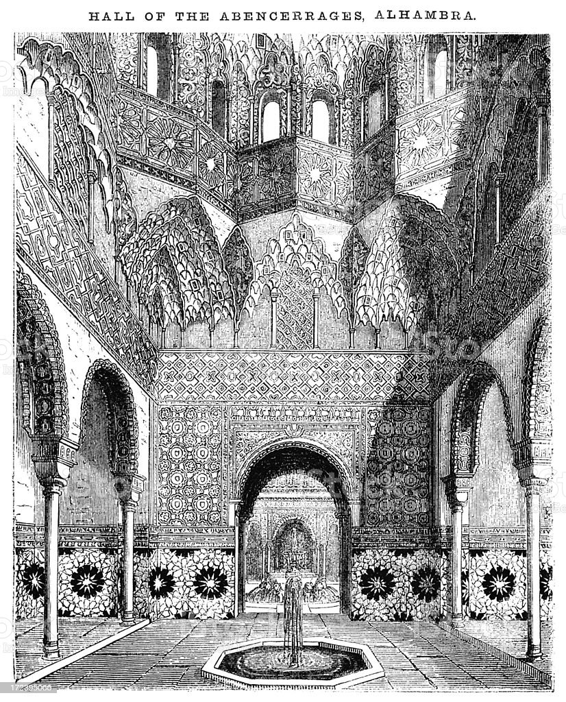 Hall of the Abencerrages, Alhambra (Victorian woodcut) royalty-free hall of the abencerrages alhambra stock vector art & more images of 1860-1869