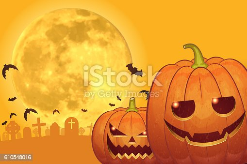 istock Halloween background [Jack o' Lantern and Full moon] 610548016