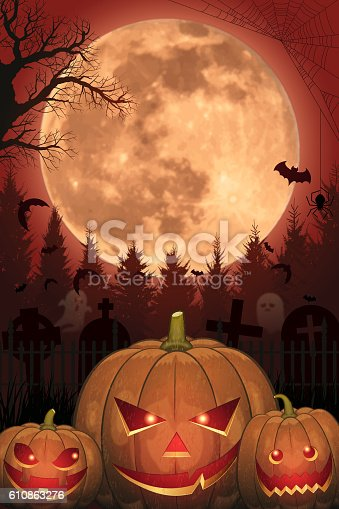 istock Halloween background [Jack o' Lantern and Full moon] 610863276