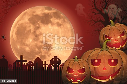 istock Halloween background [Jack o' Lantern and Full moon] 611085838