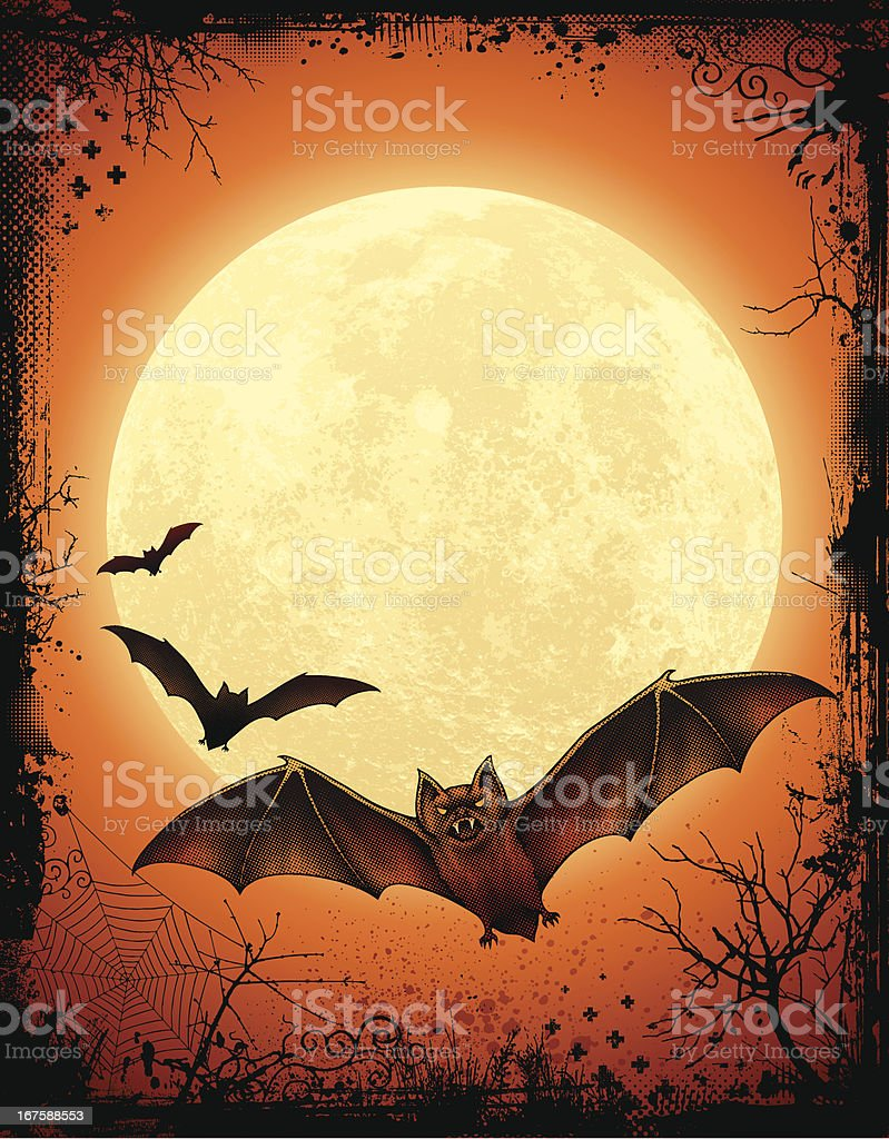 Halloween Background with Bats royalty-free stock vector art