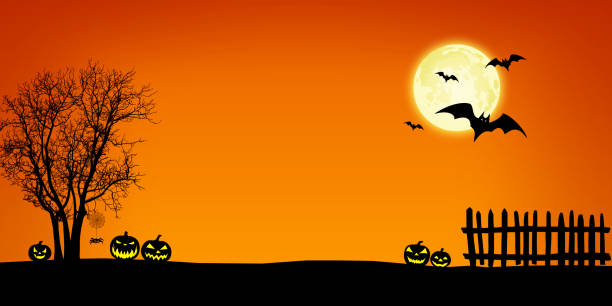 Halloween banner background Halloween background illustration, with lantern pumpkins, bats, fence, skeleton tree and spider web silhouettes above a orange gradient backdrop with full moon at night. The Moon is drawn with Inkscape and imported as a layer in Photoshop. (Previously submitted: redesigned moon and eliminated blur effects). scary halloween scene silhouettes stock illustrations