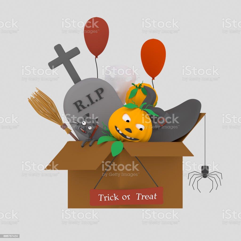 Caja Halloween - ilustración de arte vectorial