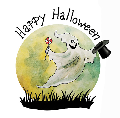 Halloween card, Happy ghost with silk hat and candy, hand drawn watercolor illustration