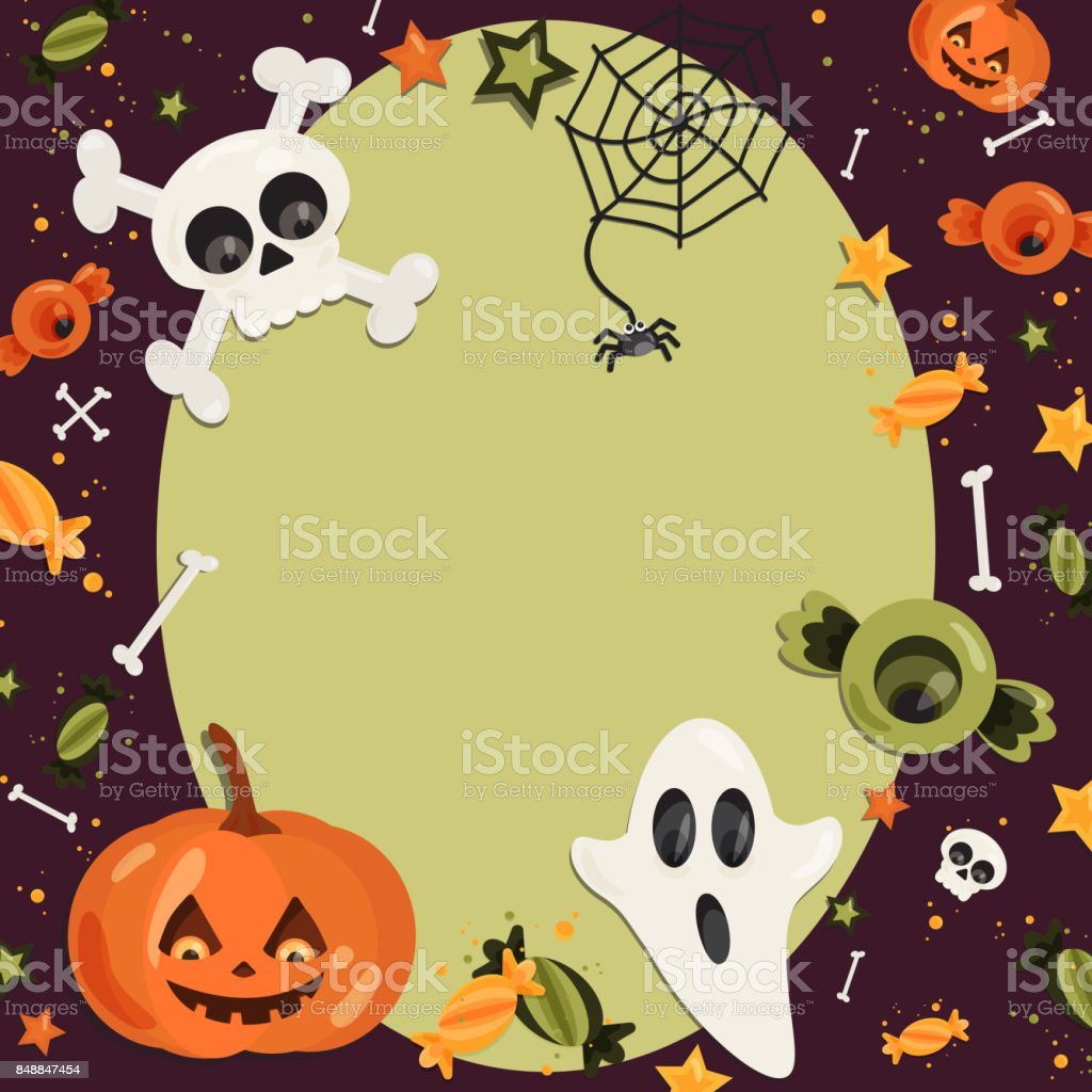 Halloween Cartoon Kunst Im Flachen Stil Grünen Sie Hintergrund ...
