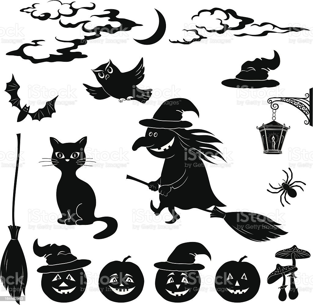 Halloween cartoon, set black silhouette royalty-free stock vector art