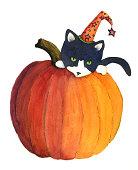 istock Halloween Cat with Pumpkin 176125460