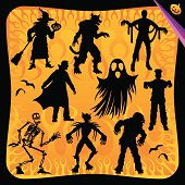 A silhouette set of Halloween main characters over a fire background.