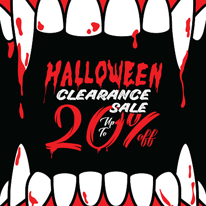 Halloween Clearance Sale Vol.3 20 percent heading design for banner or poster. Sale and Discounts Concept.