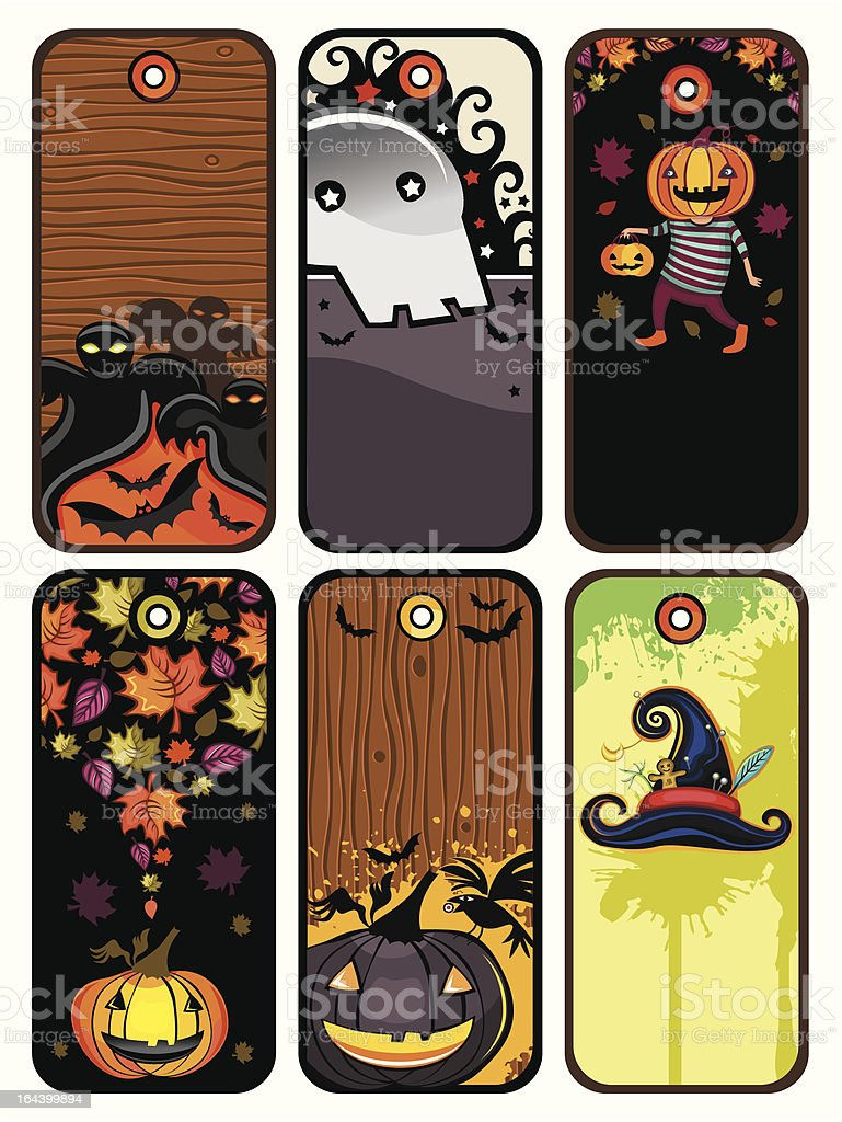 Halloween colorful tags royalty-free stock vector art
