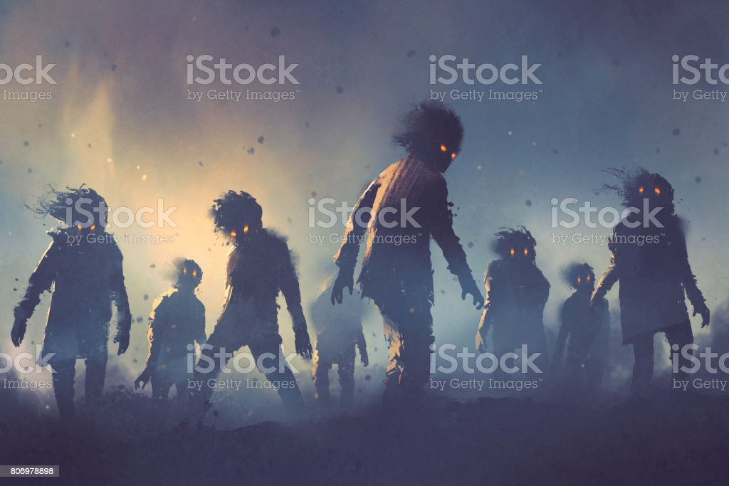Halloween concept of zombie crowd walking at night vector art illustration