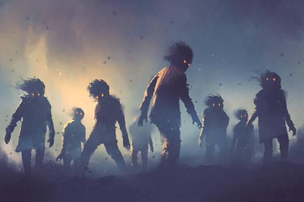 bildbanksillustrationer, clip art samt tecknat material och ikoner med halloween begreppet zombie publiken promenader på natten - zombie