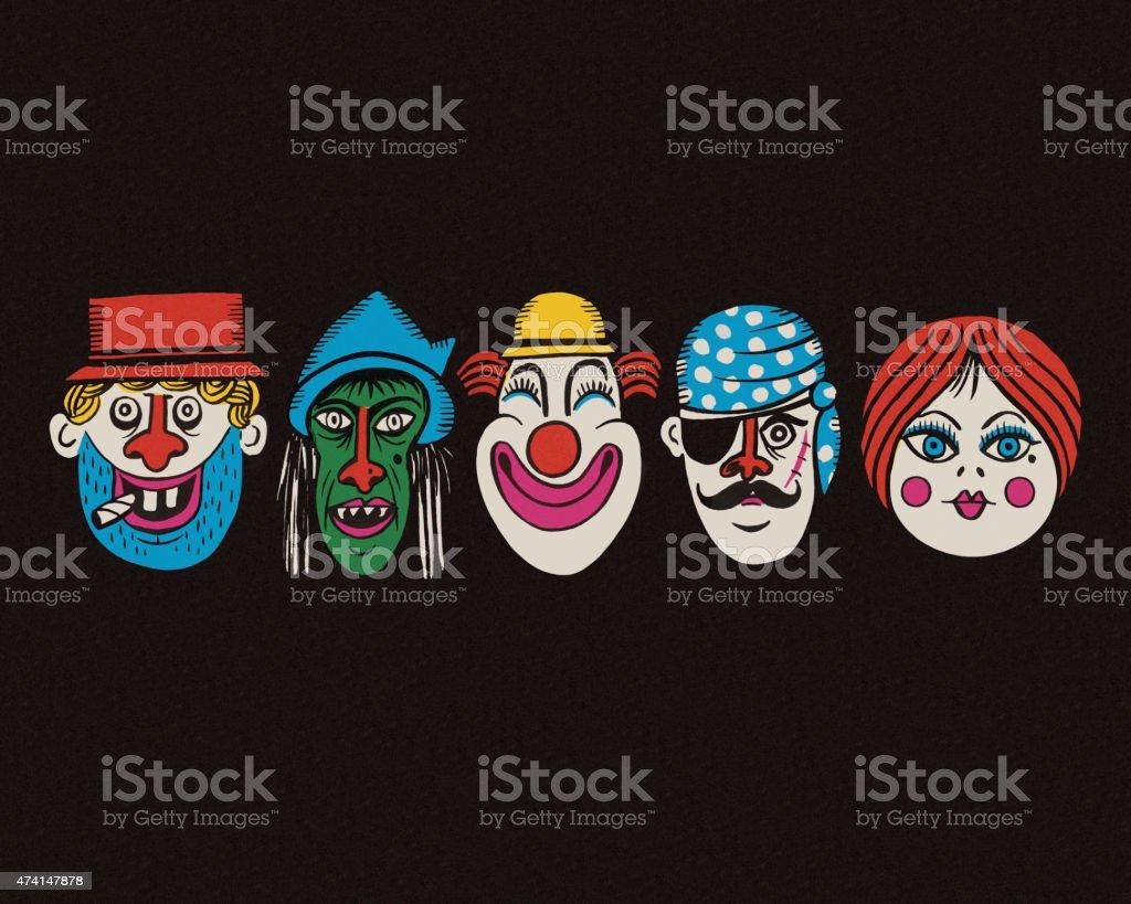 Halloween Costume Faces vector art illustration