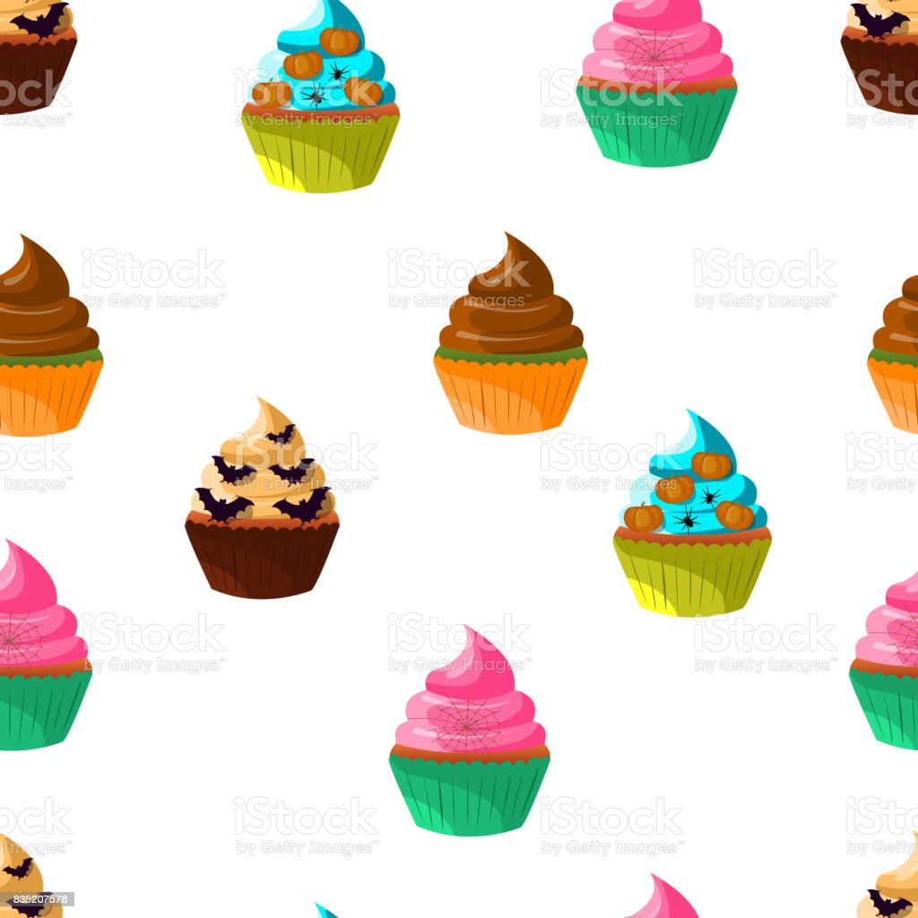 halloween cupcakes vector 10eps sweet cakes set with pumpkin eye bat decorations