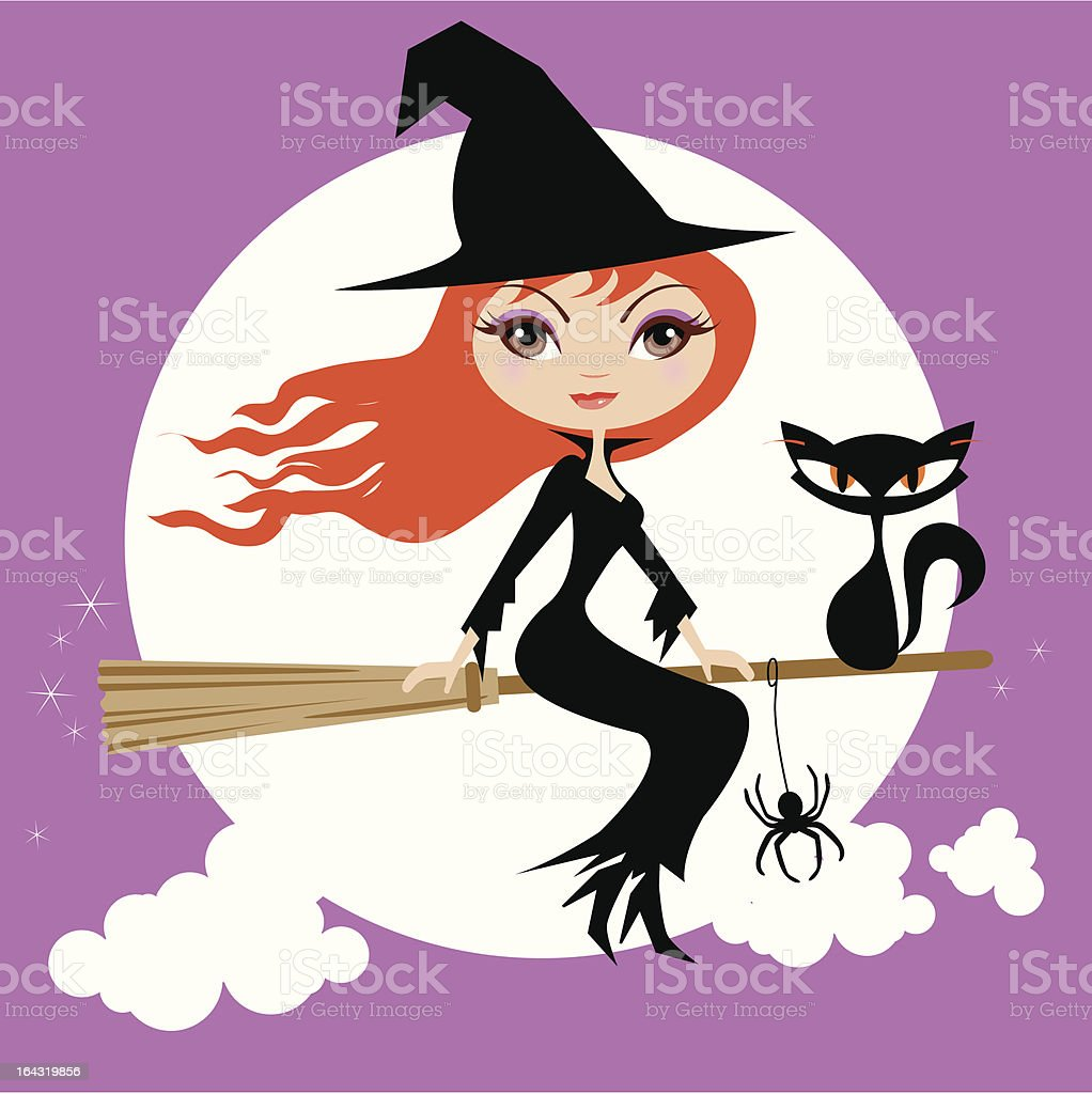 Halloween Cute Witch and Cat royalty-free stock vector art