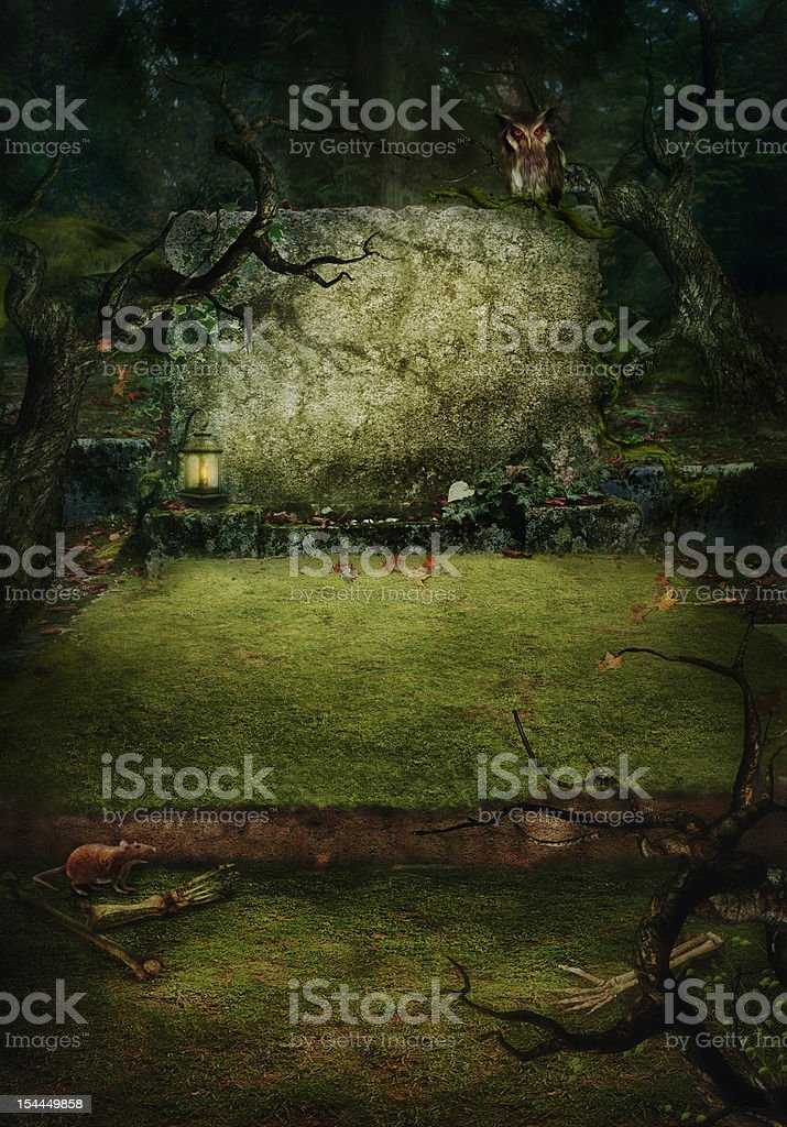 Halloween design - Forest grave royalty-free stock vector art