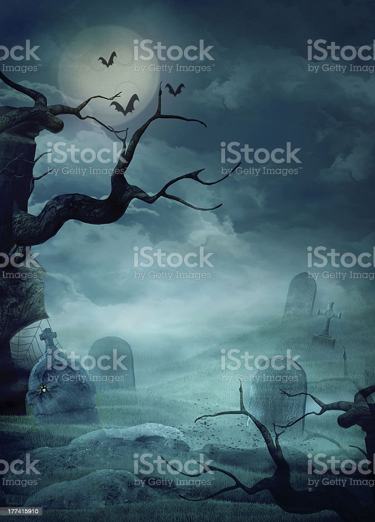 Halloween Design - Spooky Graveyard vector art illustration