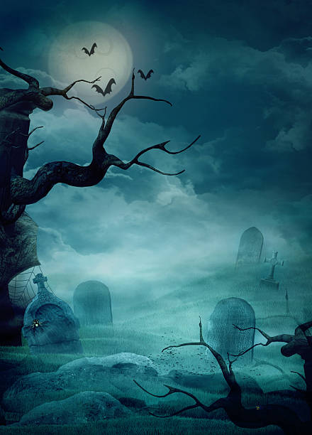 stockillustraties, clipart, cartoons en iconen met halloween design - spooky graveyard - kerkhof