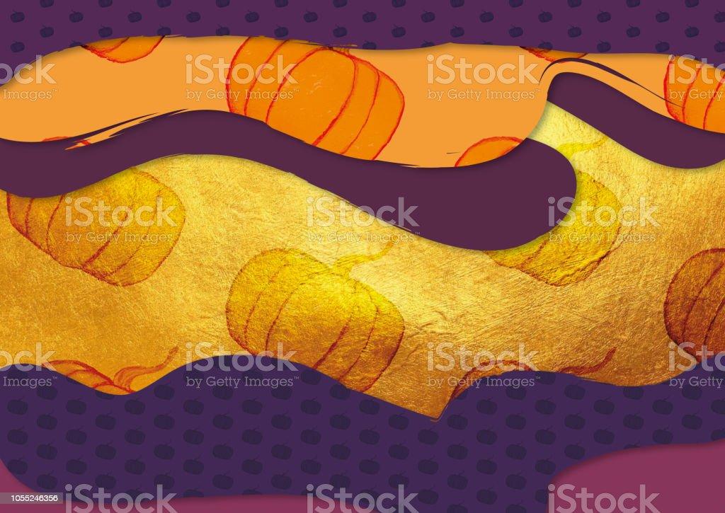 Halloween diferente tamanhos tons de roxo e laranja abóboras com ouro mão  pintada de fundo ilustração 0e202a30b9229