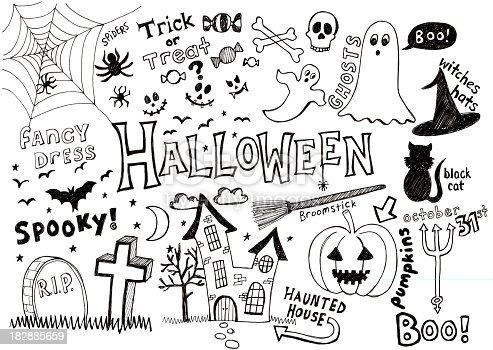 istock Halloween doodles 182885659
