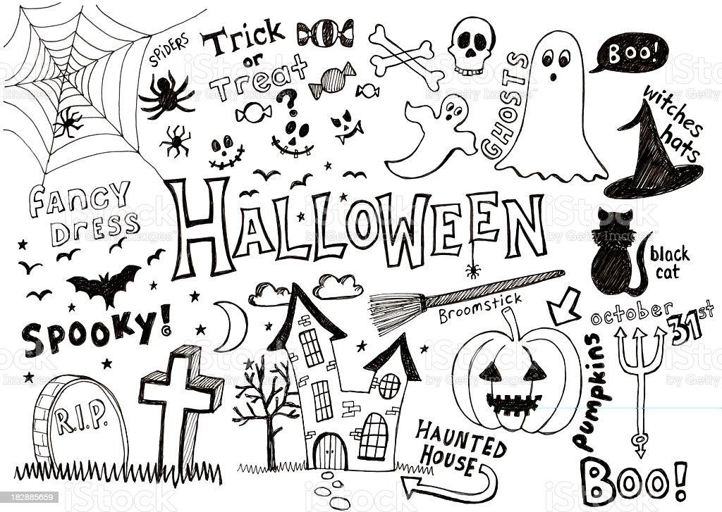 Halloween und Kritzeleien – Vektorgrafik