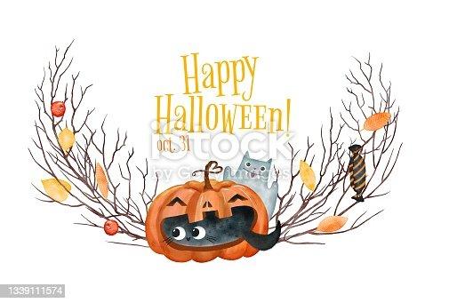 istock Halloween frame hand drawn illustration 1339111574
