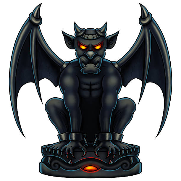 illustrazioni stock, clip art, cartoni animati e icone di tendenza di halloween gargouille-digital painting - gargoyle