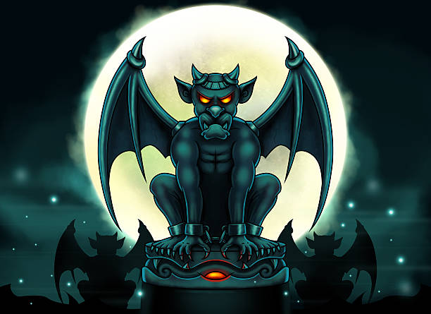 Halloween Gargoyle Illustration - Digital Painting vector art illustration