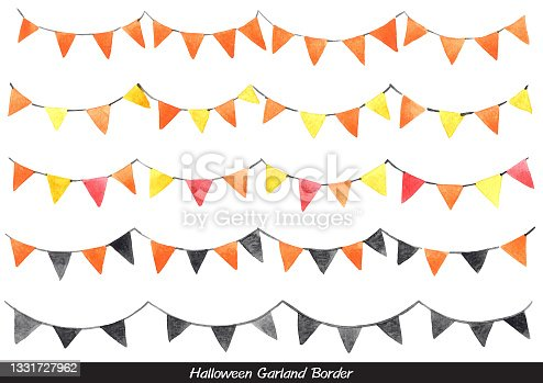 istock Halloween garland watercolor for decoration on Autumn, Thanksgiving and Halloween festival. 1331727962